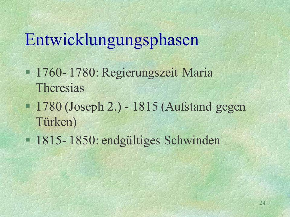 24 Entwicklungungsphasen §1760- 1780: Regierungszeit Maria Theresias §1780 (Joseph 2.) - 1815 (Aufstand gegen Türken) §1815- 1850: endgültiges Schwind