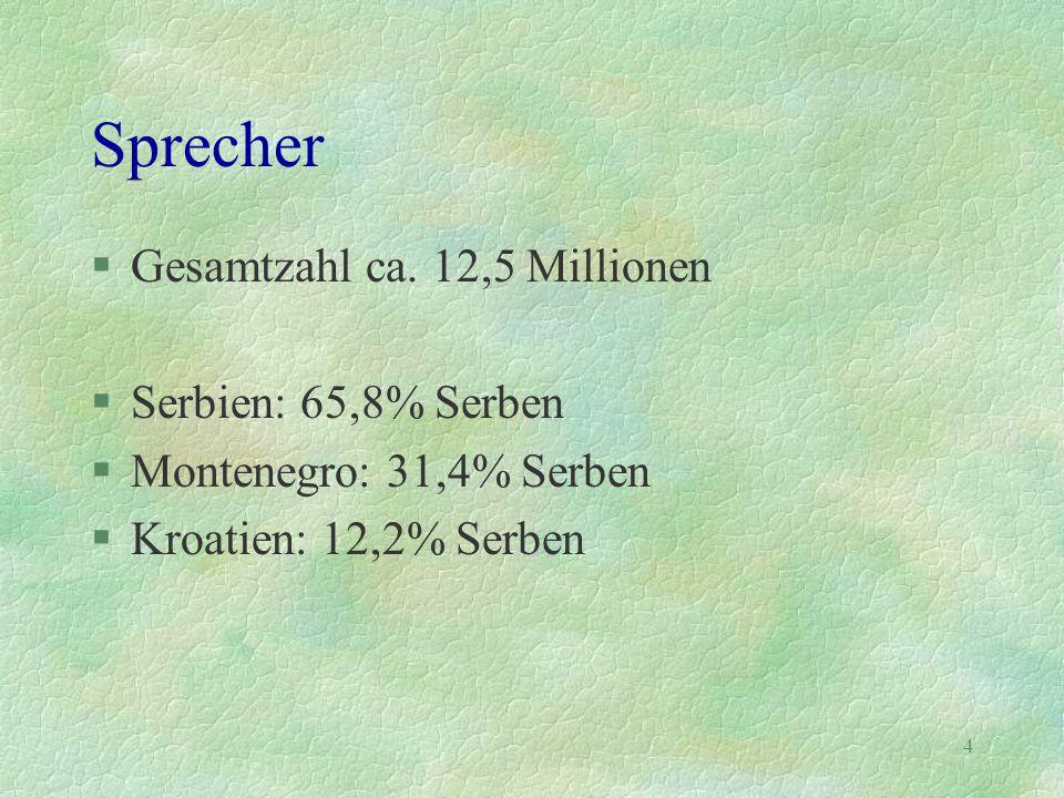 4 Sprecher §Gesamtzahl ca. 12,5 Millionen §Serbien: 65,8% Serben §Montenegro: 31,4% Serben §Kroatien: 12,2% Serben