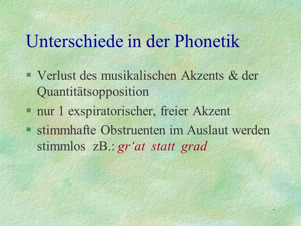 7 Unterschiede in der Phonetik §Verlust des musikalischen Akzents & der Quantitätsopposition §nur 1 exspiratorischer, freier Akzent §stimmhafte Obstru