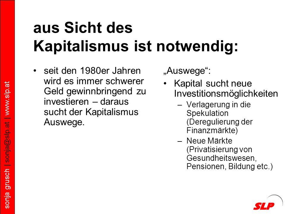 sonja grusch | sonja@slp.at | www.slp.at aus Sicht des Kapitalismus ist notwendig: seit den 1980er Jahren wird es immer schwerer Geld gewinnbringend zu investieren – daraus sucht der Kapitalismus Auswege.