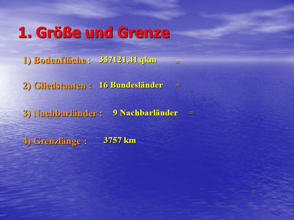 1. Größe und Grenze 1) Bodenfläche : 357121,41 qkm 2) Gliedstaaten : 16 Bundesländer →→→→ →→→→ 3) Nachbarländer : 9 Nachbarländer →→→→ 4) Grenzlänge :