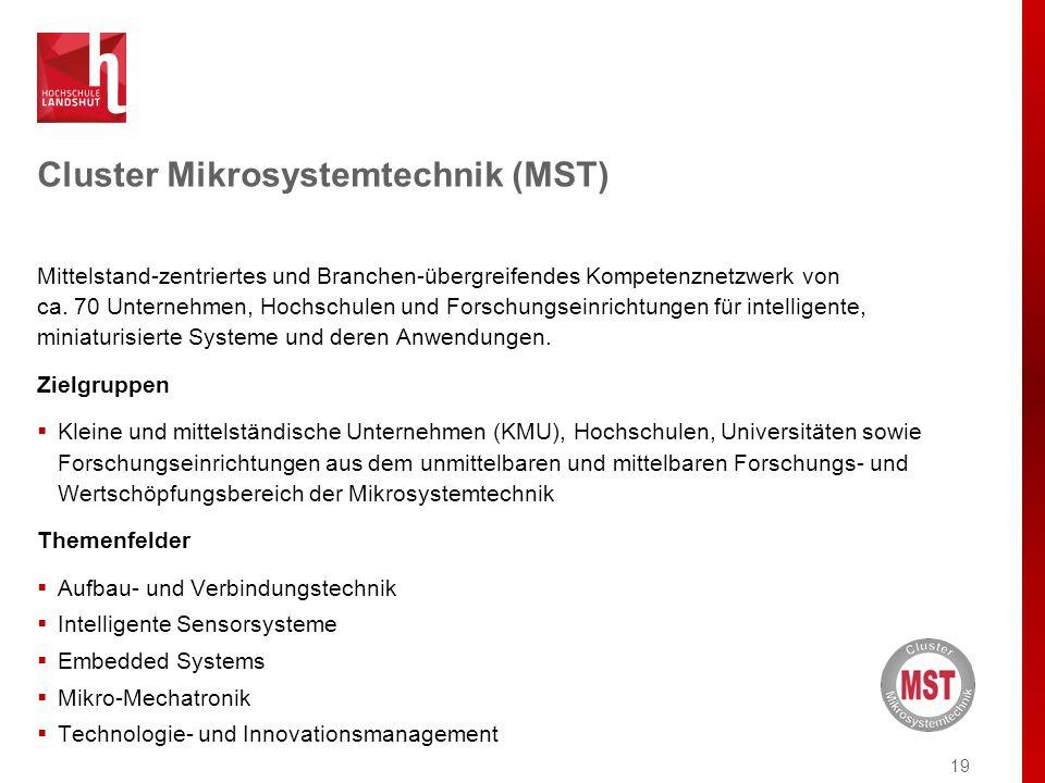 Cluster Mikrosystemtechnik (MST) Mittelstand-zentriertes und Branchen-übergreifendes Kompetenznetzwerk von ca.
