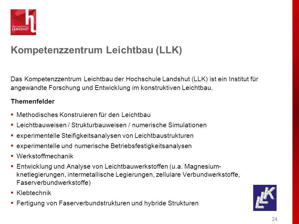 Kompetenzzentrum Leichtbau (LLK) Das Kompetenzzentrum Leichtbau der Hochschule Landshut (LLK) ist ein Institut für angewandte Forschung und Entwicklung im konstruktiven Leichtbau.
