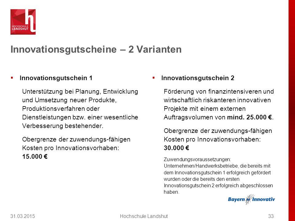 Innovationsgutschein 1 Unterstützung bei Planung, Entwicklung und Umsetzung neuer Produkte, Produktionsverfahren oder Dienstleistungen bzw.