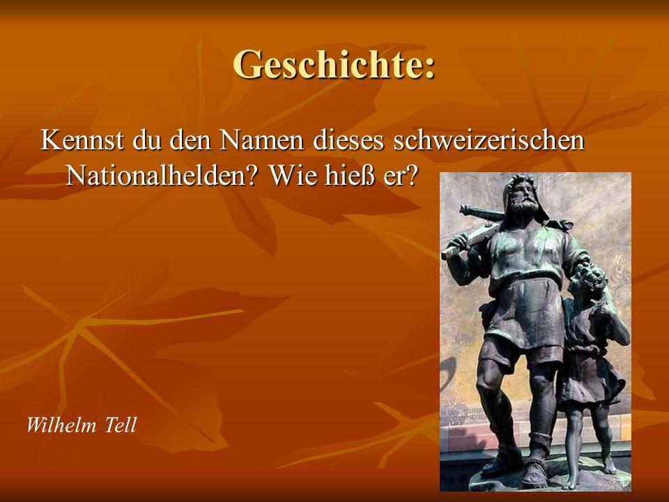 Geschichte: Kennst du den Namen dieses schweizerischen Nationalhelden Wie hieß er Wilhelm Tell
