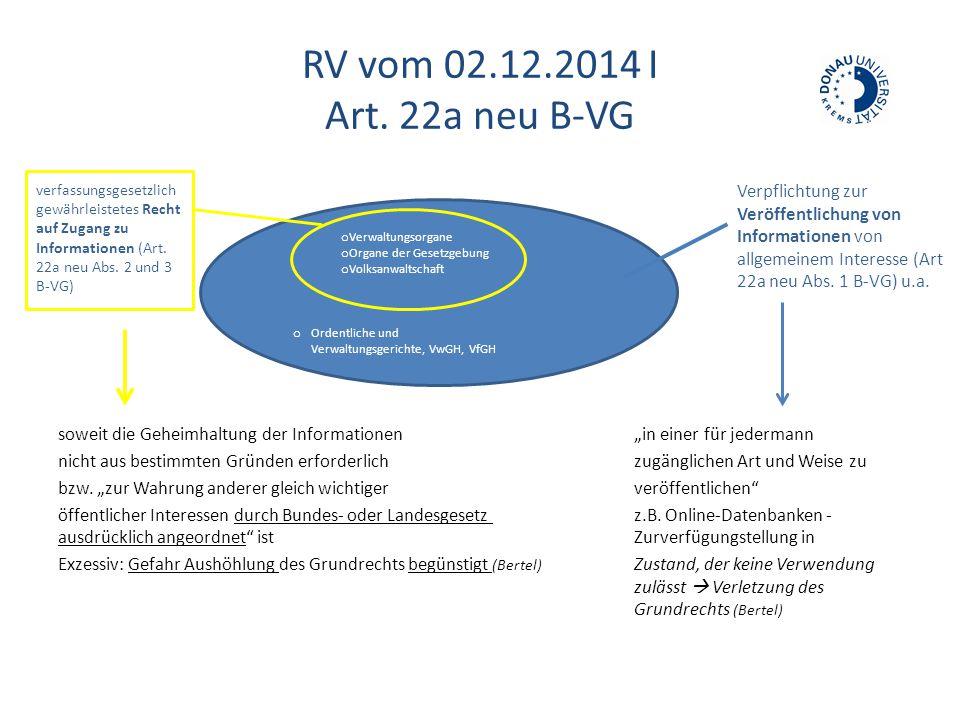 """RV vom 02.12.2014 I Art. 22a neu B-VG soweit die Geheimhaltung der Informationen""""in einer für jedermann nicht aus bestimmten Gründen erforderlichzugän"""
