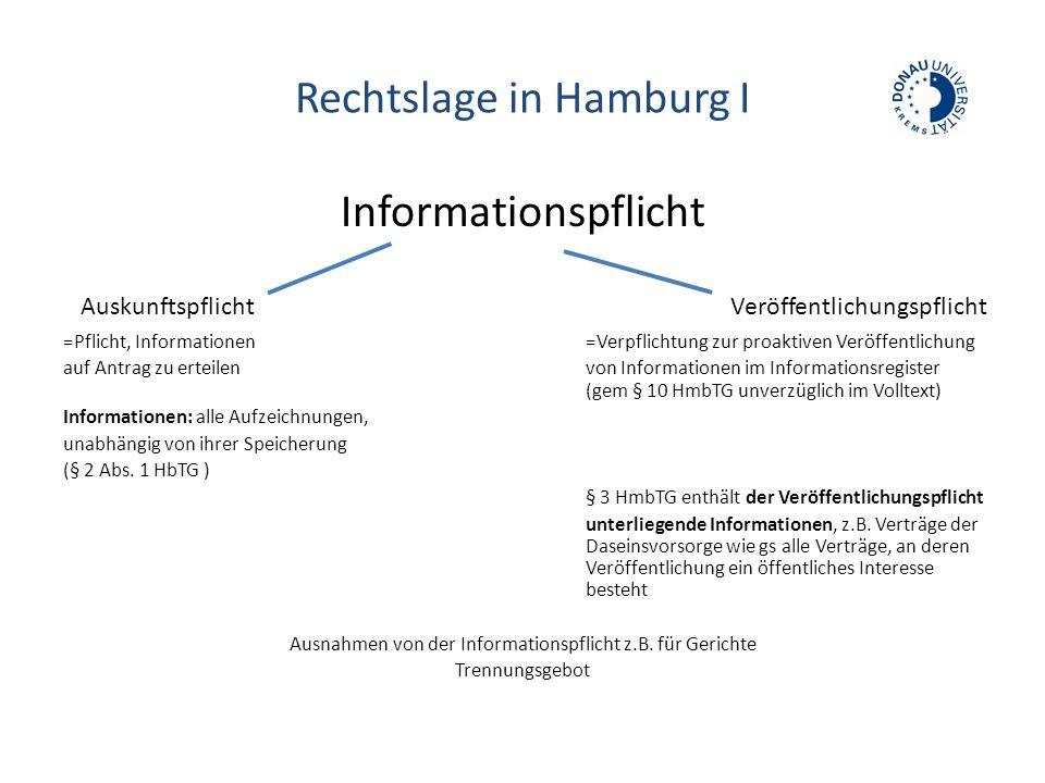 Rechtslage in Hamburg I Informationspflicht =Pflicht, Informationen =Verpflichtung zur proaktiven Veröffentlichung auf Antrag zu erteilenvon Informationen im Informationsregister (gem § 10 HmbTG unverzüglich im Volltext) Informationen: alle Aufzeichnungen, unabhängig von ihrer Speicherung (§ 2 Abs.