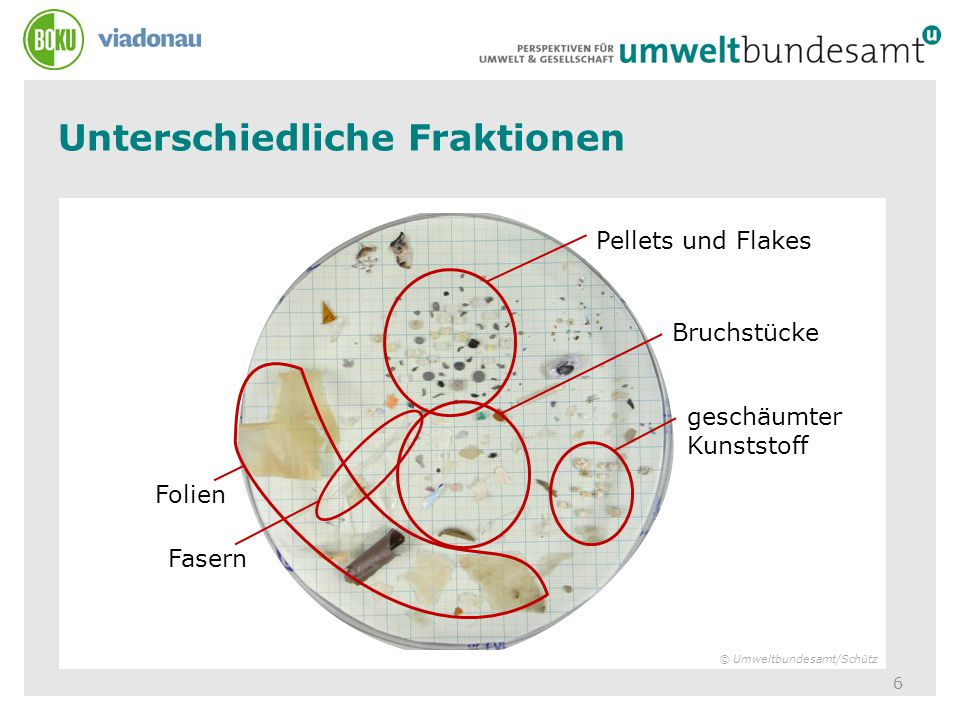 Unterschiedliche Fraktionen 6 Pellets und Flakes Bruchstücke geschäumter Kunststoff Folien Fasern © Umweltbundesamt/Schütz