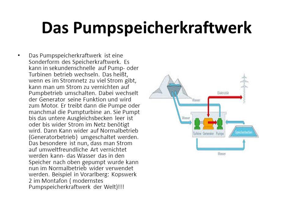 Das Pumpspeicherkraftwerk Das Pumpspeicherkraftwerk ist eine Sonderform des Speicherkraftwerk. Es kann in sekundenschnelle auf Pump- oder Turbinen bet