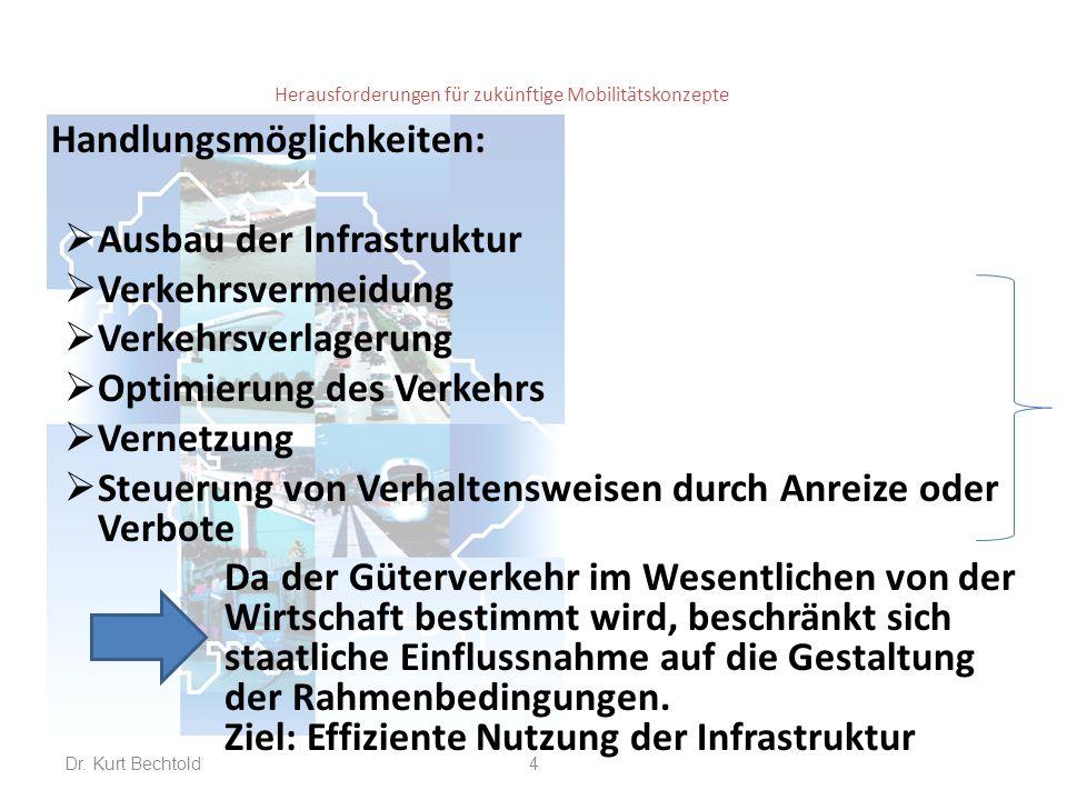 Herausforderungen für zukünftige Mobilitätskonzepte Ausbau der Infrastruktur:  Wesentliche Ausbaumaßnahmen sind in der Prognose bereits unterstellt (Folie 9 vom 11.11.14)  Entwicklung Transeuropäischer Korridore (TEN-Netz); von den 9 EU-weiten Korridoren führen wegen seiner zentralen Lage allein 6 durch Deutschland.