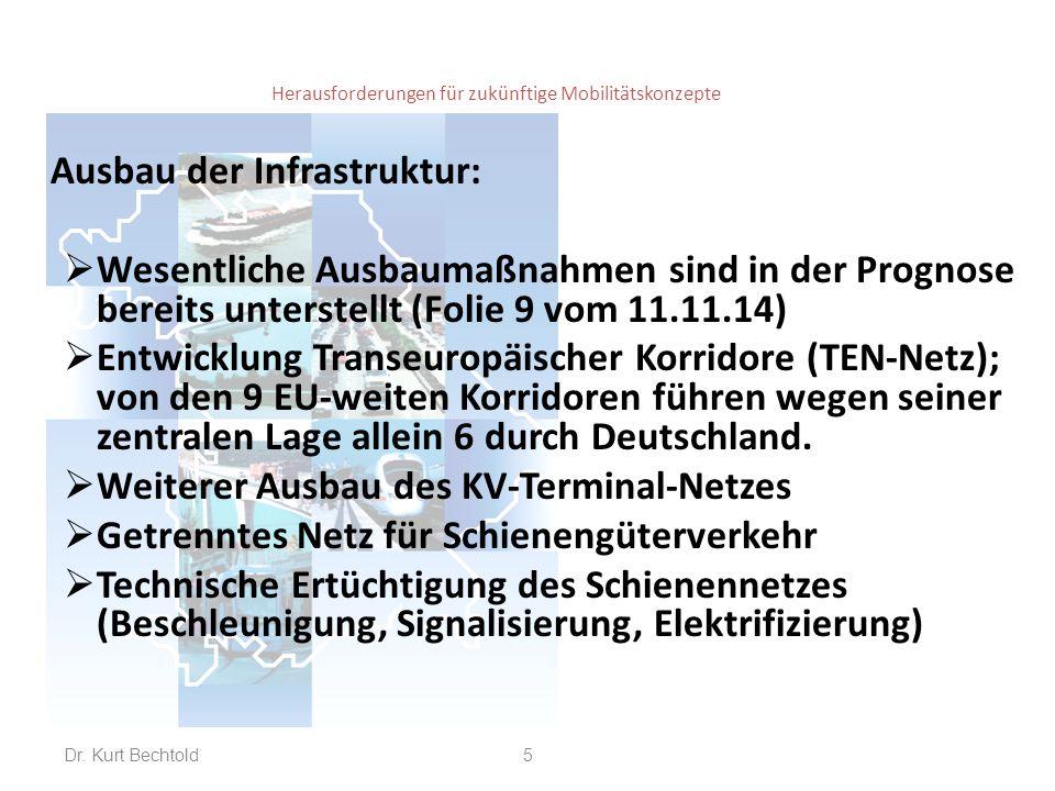 Herausforderungen für zukünftige Mobilitätskonzepte Ausbau der Infrastruktur:  Wesentliche Ausbaumaßnahmen sind in der Prognose bereits unterstellt (