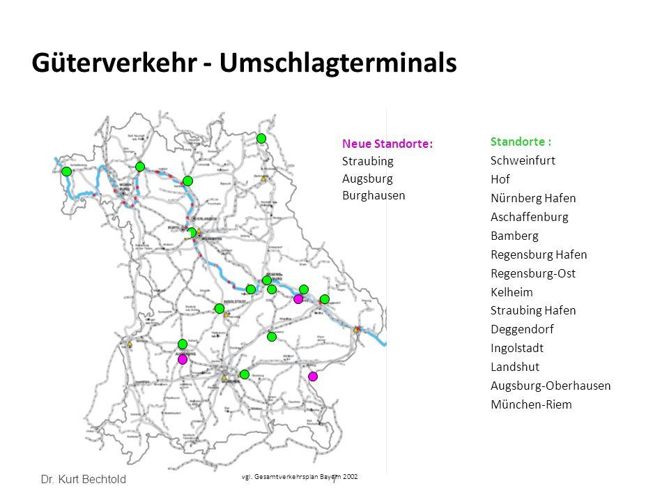 Dr. Kurt Bechtold7 Güterverkehr - Umschlagterminals vgl. Gesamtverkehrsplan Bayern 2002 Neue Standorte: Straubing Augsburg Burghausen Standorte : Schw