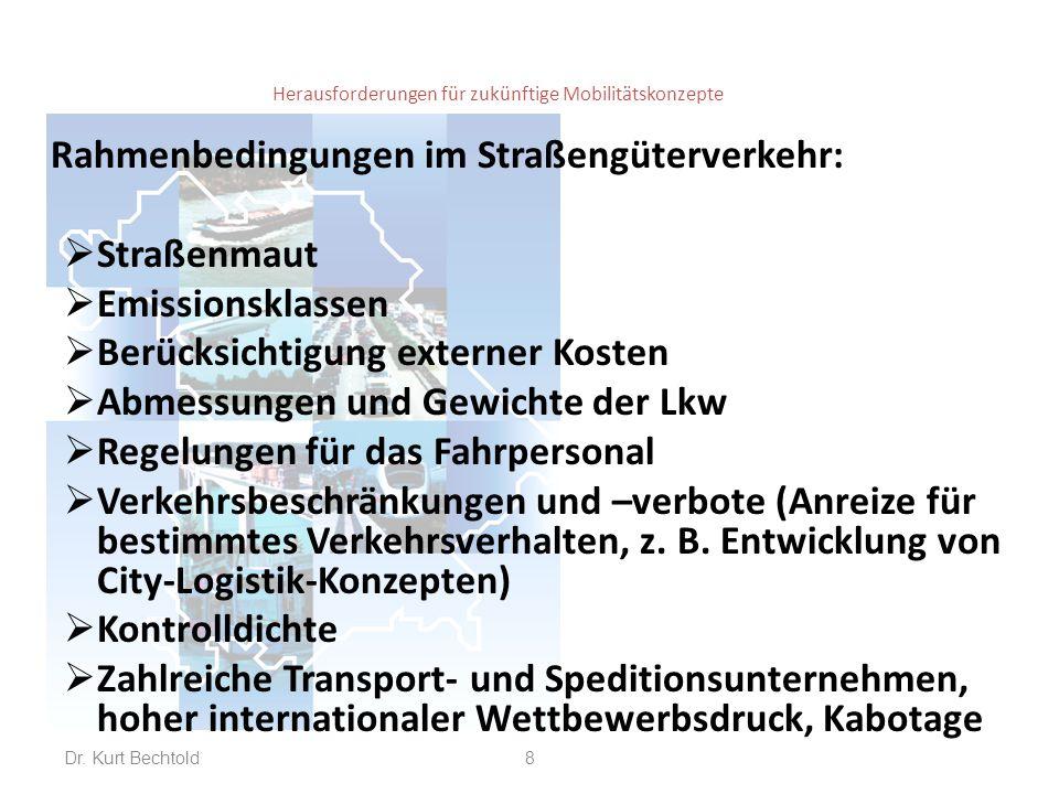 Herausforderungen für zukünftige Mobilitätskonzepte Rahmenbedingungen im Schienengüterverkehr (andere Ausgangslage als im Straßengüterverkehr):  Schienennetz steht im Eigentum der DB Netz AG, wird wirtschaftlich betrieben; Kontrolle der Wettbewerbs- neutralität durch Bundesnetzagentur.