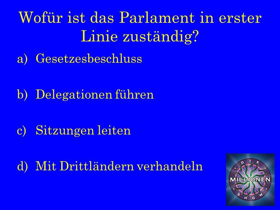 Wofür ist das Parlament in erster Linie zuständig.