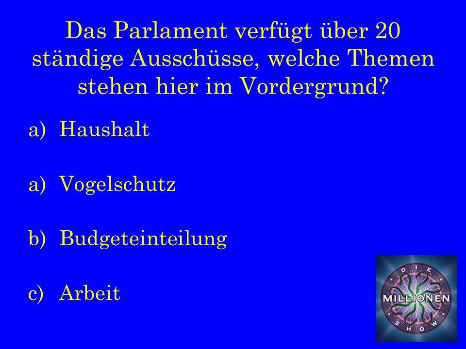 Das Parlament verfügt über 20 ständige Ausschüsse, welche Themen stehen hier im Vordergrund.