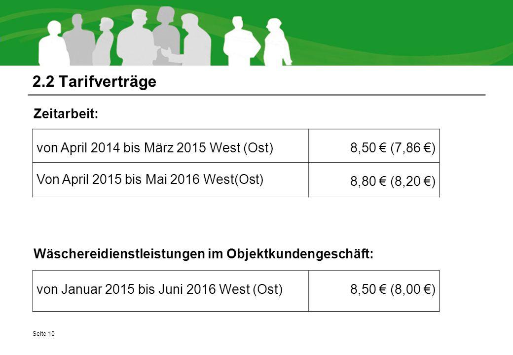 2.2 Tarifverträge Zeitarbeit: Wäschereidienstleistungen im Objektkundengeschäft: Seite 10 von April 2014 bis März 2015 West (Ost)8,50 € (7,86 €) Von April 2015 bis Mai 2016 West(Ost) 8,80 € (8,20 €) von Januar 2015 bis Juni 2016 West (Ost)8,50 € (8,00 €)