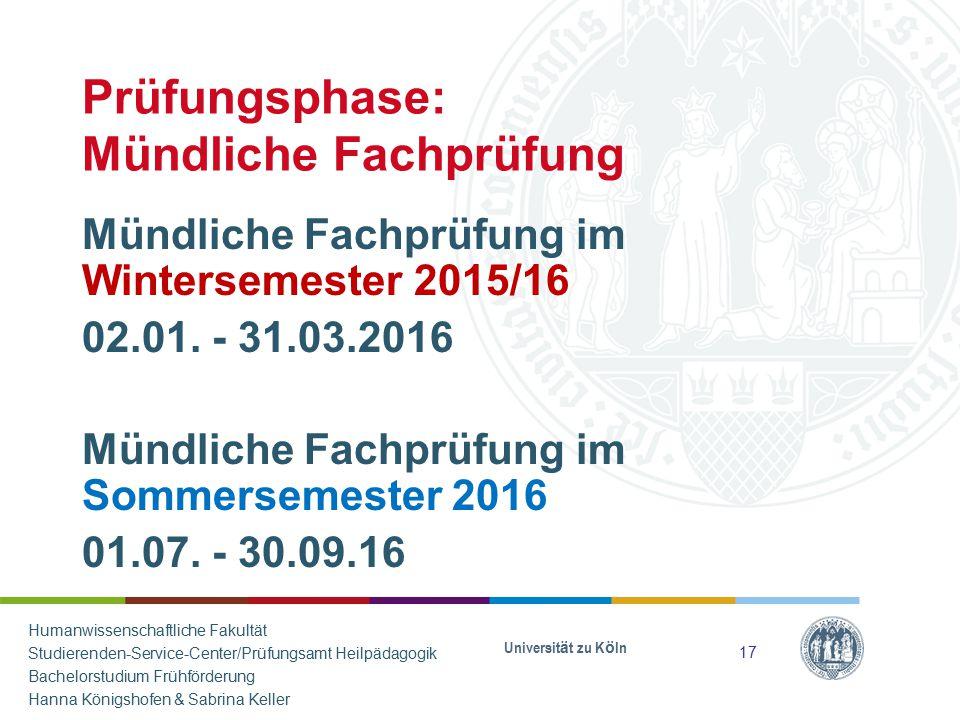 Prüfungsphase: Mündliche Fachprüfung Mündliche Fachprüfung im Wintersemester 2015/16 02.01. - 31.03.2016 Mündliche Fachprüfung im Sommersemester 2016