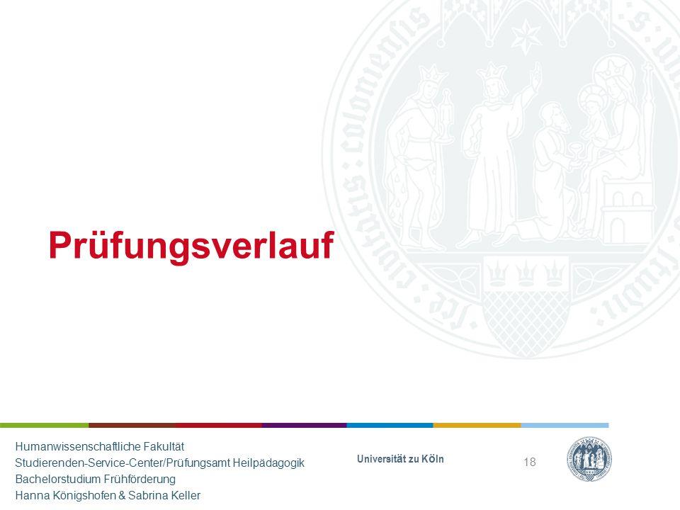 Prüfungsverlauf Universität zu Köln 18 Humanwissenschaftliche Fakultät Studierenden-Service-Center/Prüfungsamt Heilpädagogik Bachelorstudium Frühförde