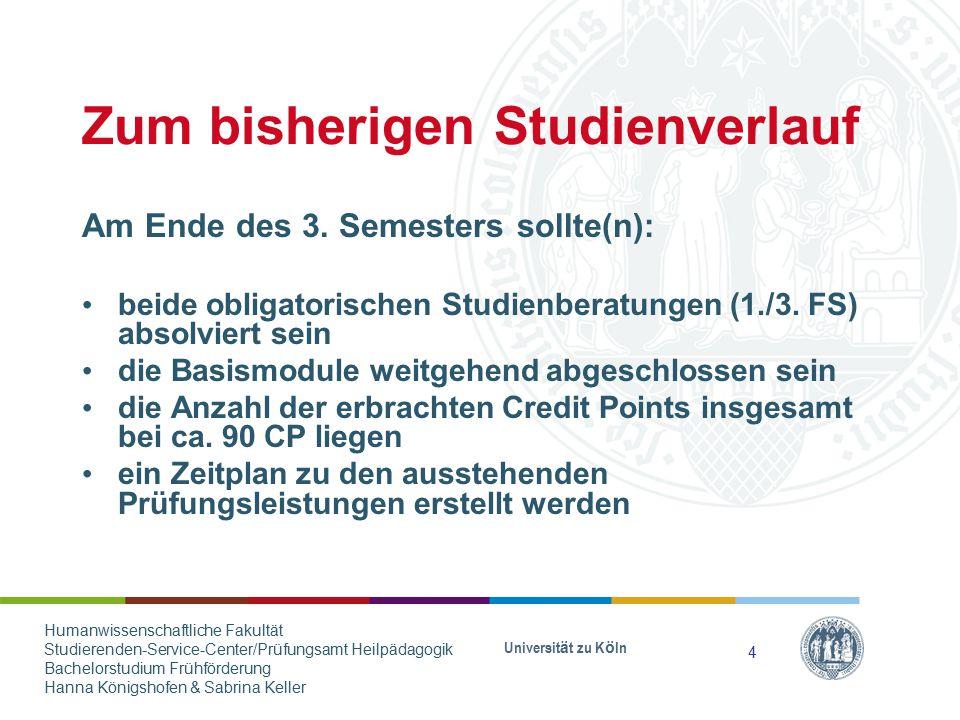 Zum bisherigen Studienverlauf Am Ende des 3. Semesters sollte(n): beide obligatorischen Studienberatungen (1./3. FS) absolviert sein die Basismodule w