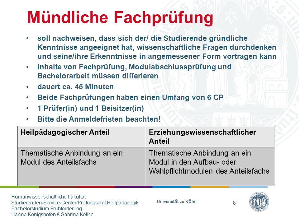 Anmeldung bei Prüferinnen und Prüfern Universität zu Köln Anmeldung bei den Prüferinnen und Prüfern im Rahmen ihrer Sprechstunde(n) Unterschrift der Prüferin/ des Prüfers für die Anmeldung im Prüfungsamt erforderlich Anfragen bei Prüferinnen und Prüfern mind.
