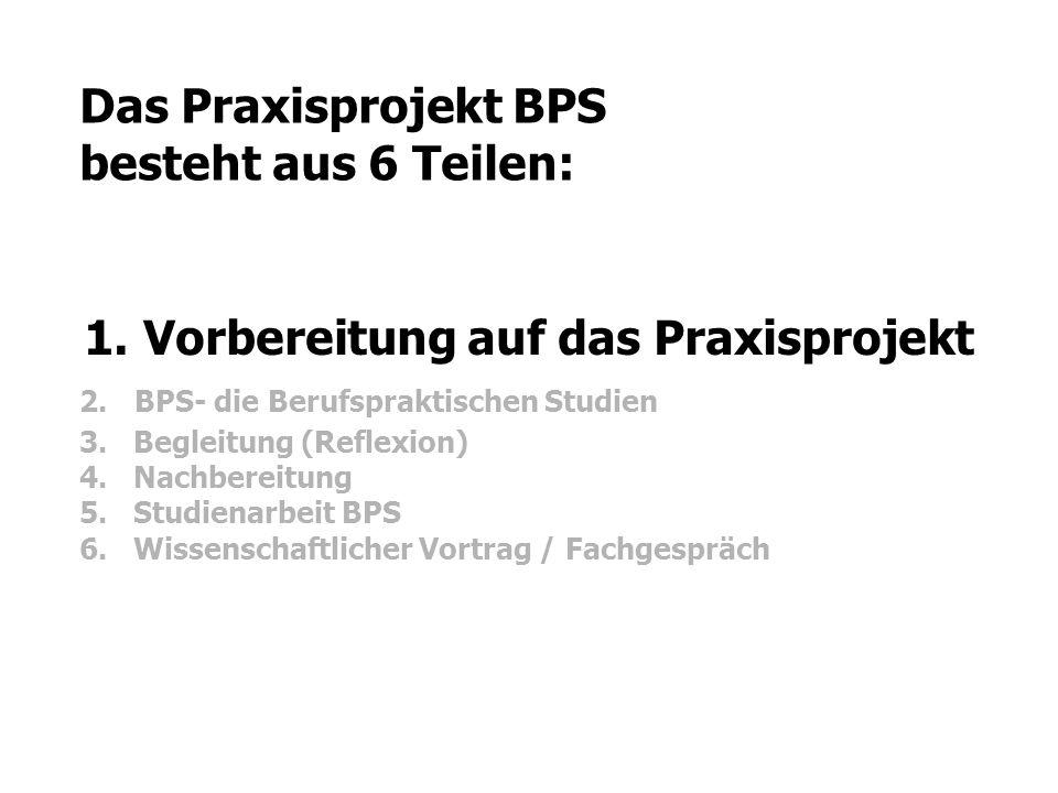 Das Praxisprojekt BPS besteht aus 6 Teilen: 1. Vorbereitung auf das Praxisprojekt 2. BPS- die Berufspraktischen Studien 3. Begleitung (Reflexion) 4. N