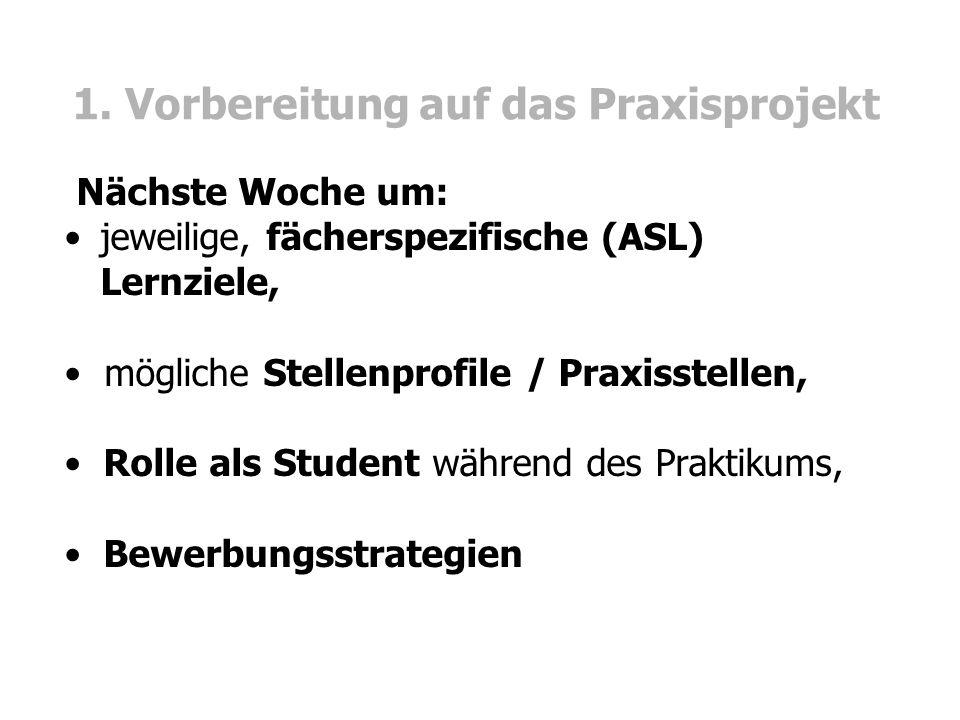 1. Vorbereitung auf das Praxisprojekt Nächste Woche um: jeweilige, fächerspezifische (ASL) Lernziele, mögliche Stellenprofile / Praxisstellen, Rolle a