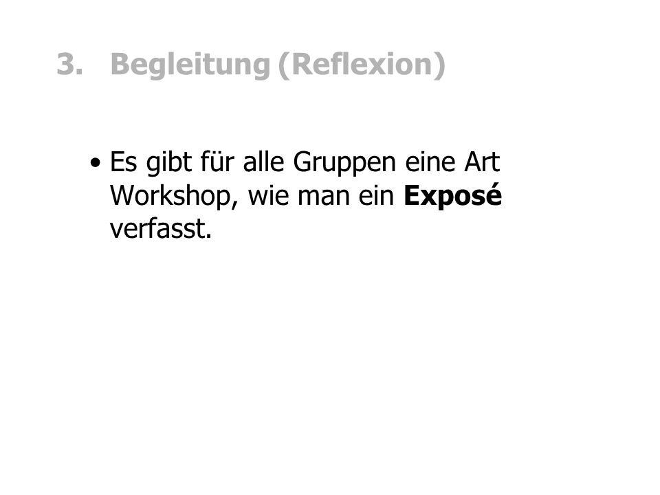 3. Begleitung (Reflexion) Es gibt für alle Gruppen eine Art Workshop, wie man ein Exposé verfasst.