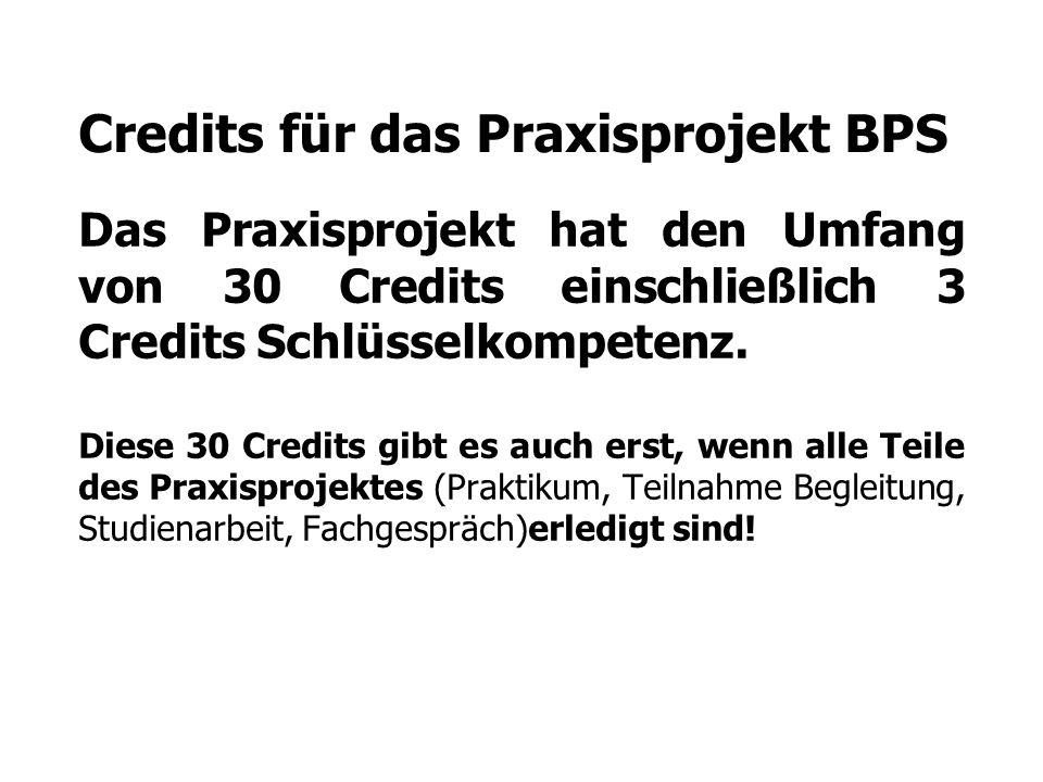 Credits für das Praxisprojekt BPS Das Praxisprojekt hat den Umfang von 30 Credits einschließlich 3 Credits Schlüsselkompetenz. Diese 30 Credits gibt e