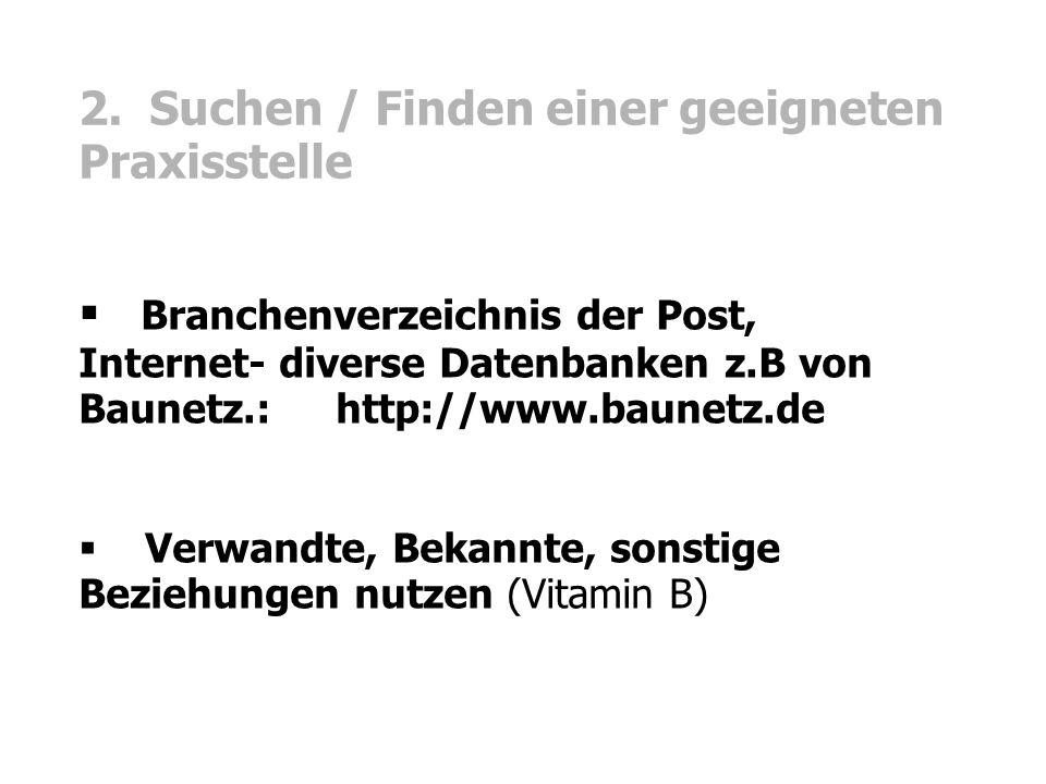 2. Suchen / Finden einer geeigneten Praxisstelle  Branchenverzeichnis der Post, Internet- diverse Datenbanken z.B von Baunetz.: http://www.baunetz.de