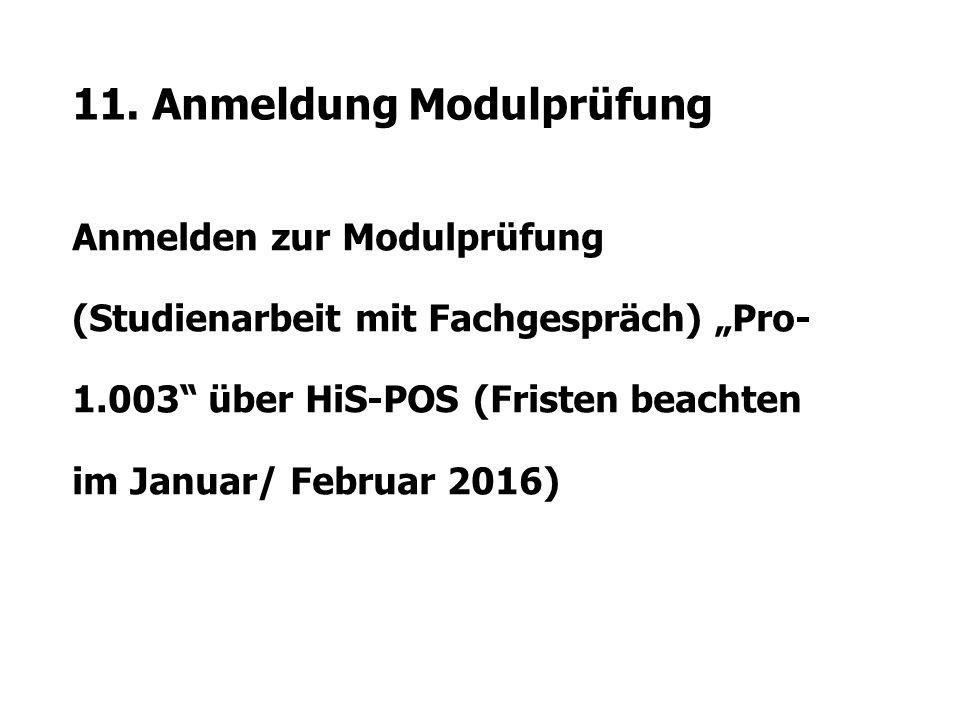 """11. Anmeldung Modulprüfung Anmelden zur Modulprüfung (Studienarbeit mit Fachgespräch) """"Pro- 1.003"""" über HiS-POS (Fristen beachten im Januar/ Februar 2"""