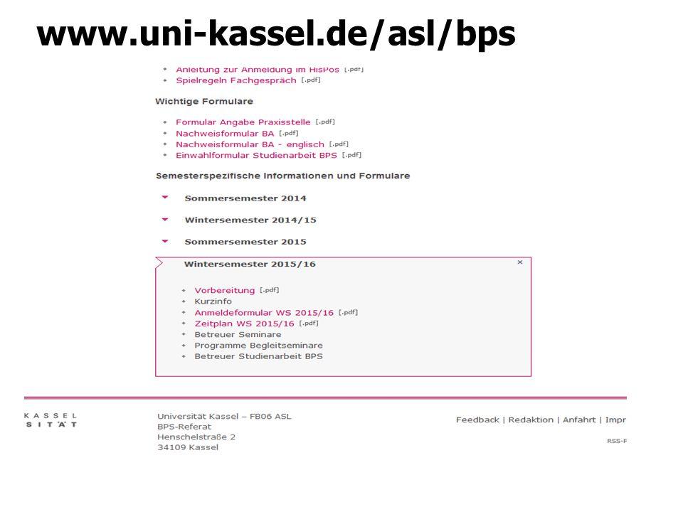 1.Anmelden Anmeldung im BPS-Referat für die BPS im WS 15/16 bis 1.