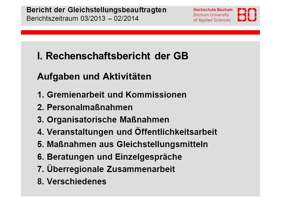 Bericht der Gleichstellungsbeauftragten Berichtszeitraum 03/2013 – 02/2014 1.