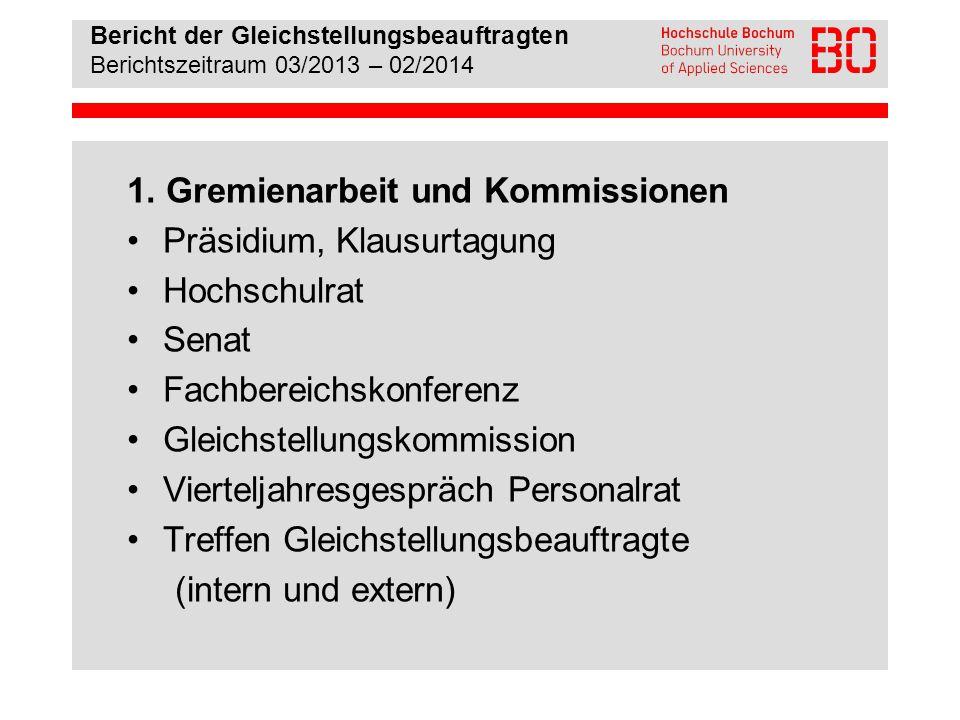 Bericht der Gleichstellungsbeauftragten Berichtszeitraum 03/2013 – 02/2014 2.