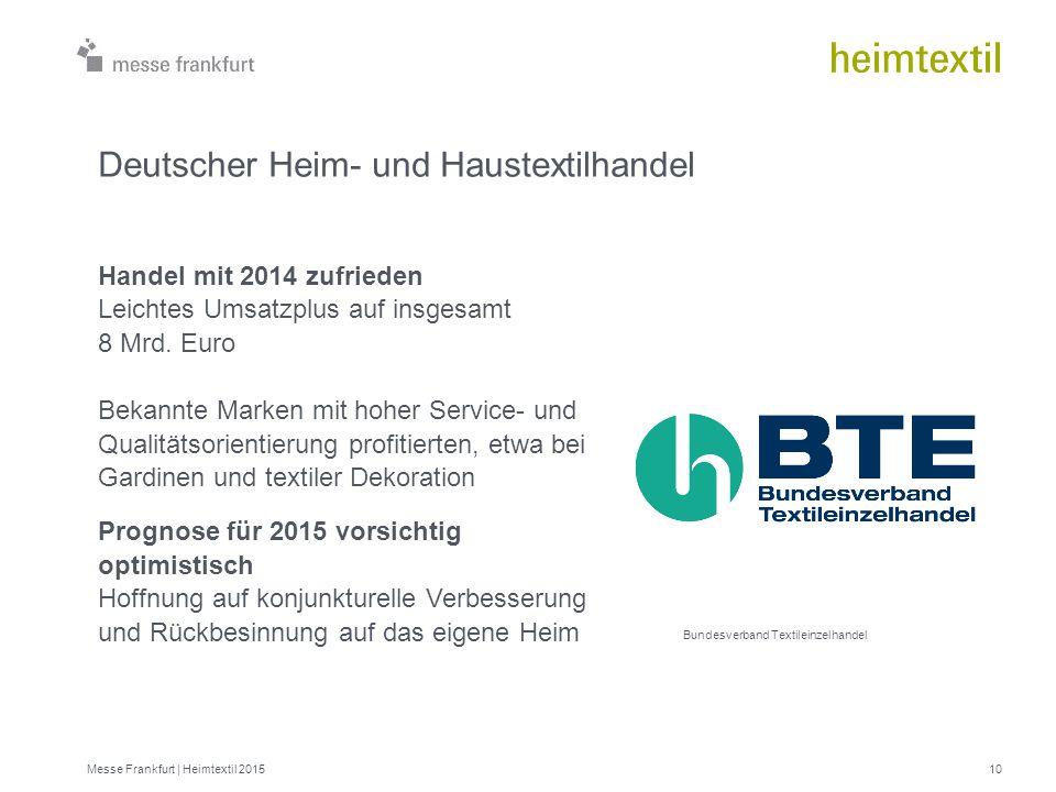 Messe Frankfurt | Heimtextil 201510 Bundesverband Textileinzelhandel Deutscher Heim- und Haustextilhandel Handel mit 2014 zufrieden Leichtes Umsatzplu