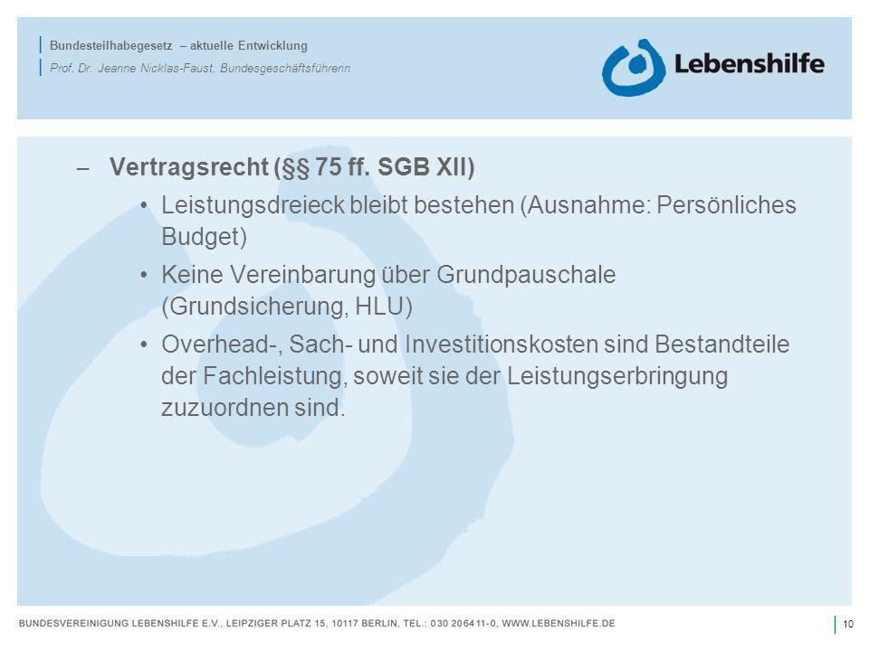10 | | Bundesteilhabegesetz – aktuelle Entwicklung | Prof. Dr. Jeanne Nicklas-Faust, Bundesgeschäftsführerin – Vertragsrecht (§§ 75 ff. SGB XII) Leist