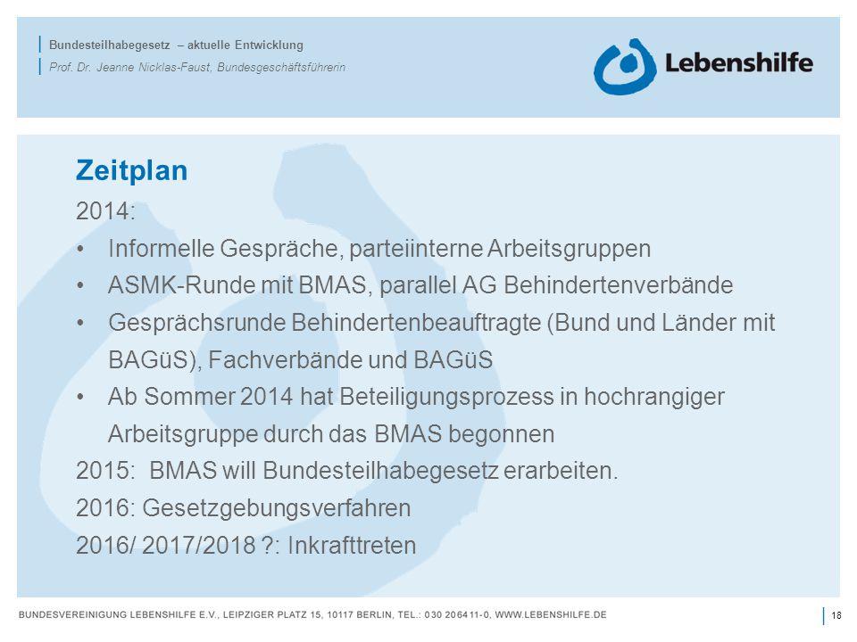 18 | | Bundesteilhabegesetz – aktuelle Entwicklung | Prof. Dr. Jeanne Nicklas-Faust, Bundesgeschäftsführerin Zeitplan 2014: Informelle Gespräche, part