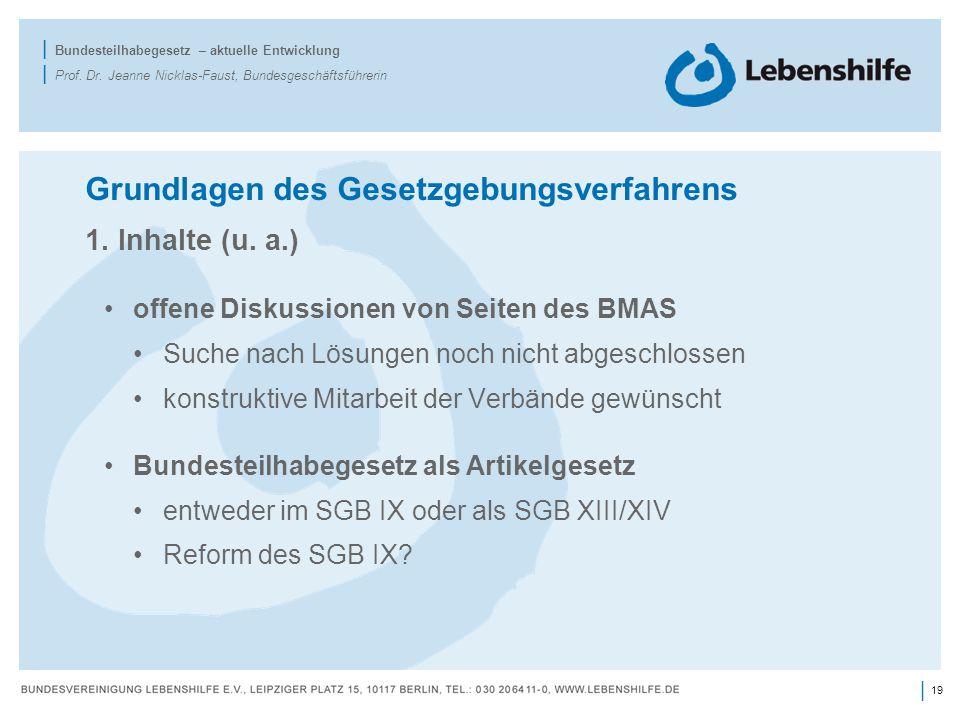 19 | | Bundesteilhabegesetz – aktuelle Entwicklung | Prof. Dr. Jeanne Nicklas-Faust, Bundesgeschäftsführerin Grundlagen des Gesetzgebungsverfahrens 1.