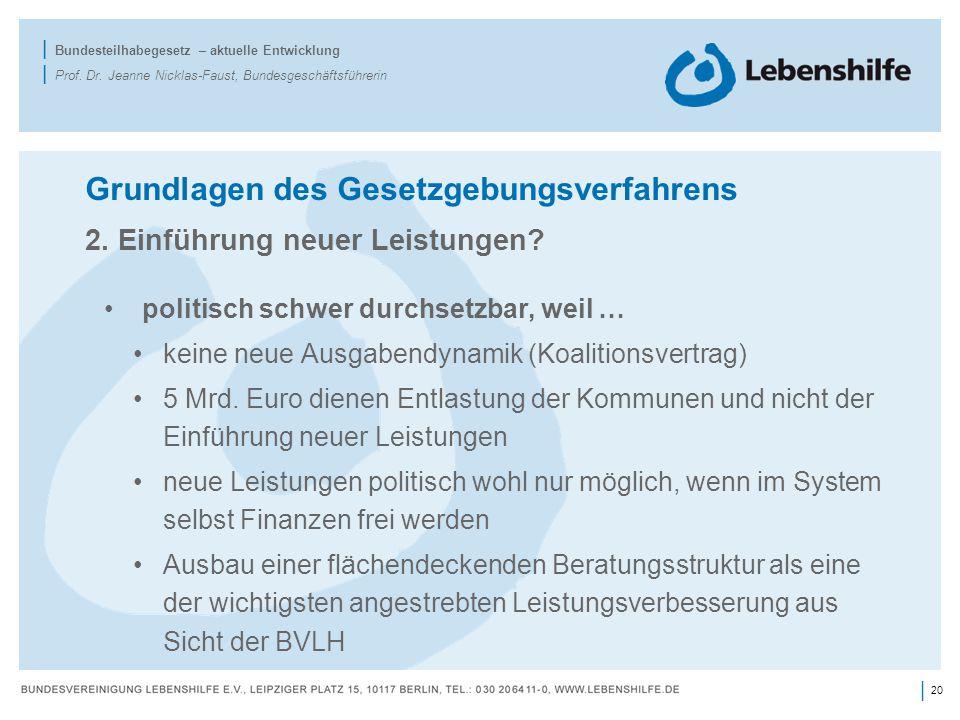 20 | | Bundesteilhabegesetz – aktuelle Entwicklung | Prof. Dr. Jeanne Nicklas-Faust, Bundesgeschäftsführerin Grundlagen des Gesetzgebungsverfahrens 2.