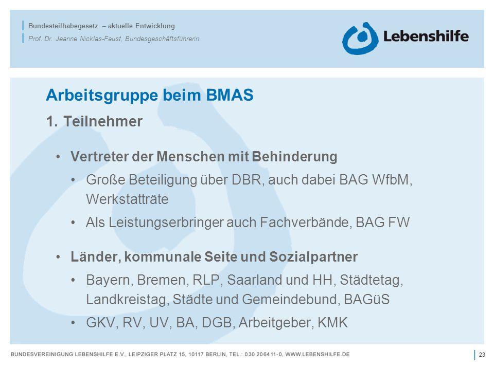 23 | | Bundesteilhabegesetz – aktuelle Entwicklung | Prof. Dr. Jeanne Nicklas-Faust, Bundesgeschäftsführerin Arbeitsgruppe beim BMAS 1. Teilnehmer Ver