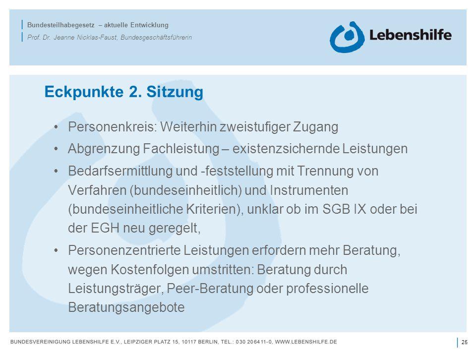 25 | | Bundesteilhabegesetz – aktuelle Entwicklung | Prof. Dr. Jeanne Nicklas-Faust, Bundesgeschäftsführerin Eckpunkte 2. Sitzung Personenkreis: Weite