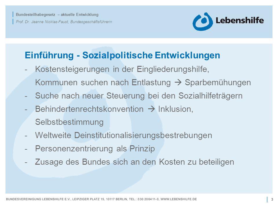 3 | | Bundesteilhabegesetz – aktuelle Entwicklung | Prof. Dr. Jeanne Nicklas-Faust, Bundesgeschäftsführerin Einführung - Sozialpolitische Entwicklunge