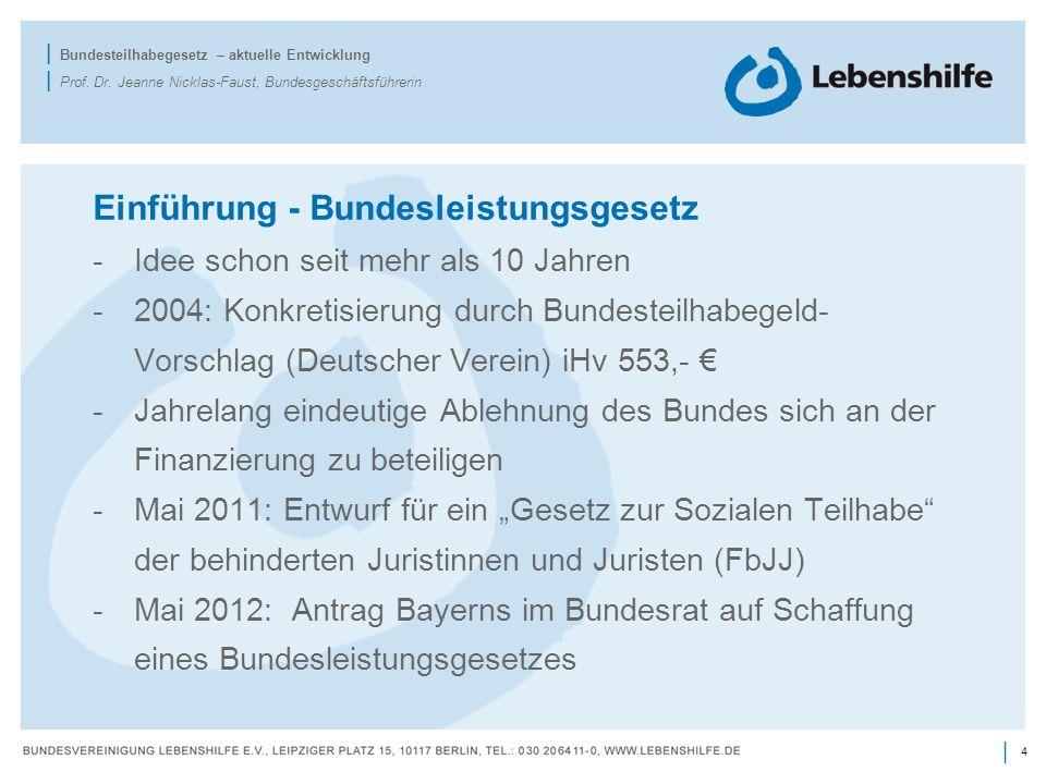 4 | | Bundesteilhabegesetz – aktuelle Entwicklung | Prof. Dr. Jeanne Nicklas-Faust, Bundesgeschäftsführerin Einführung - Bundesleistungsgesetz -Idee s