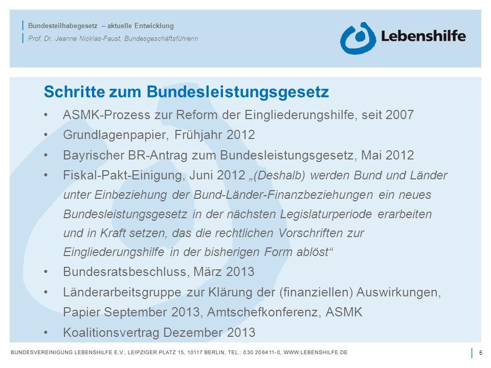 5 | | Bundesteilhabegesetz – aktuelle Entwicklung | Prof. Dr. Jeanne Nicklas-Faust, Bundesgeschäftsführerin Schritte zum Bundesleistungsgesetz ASMK-Pr