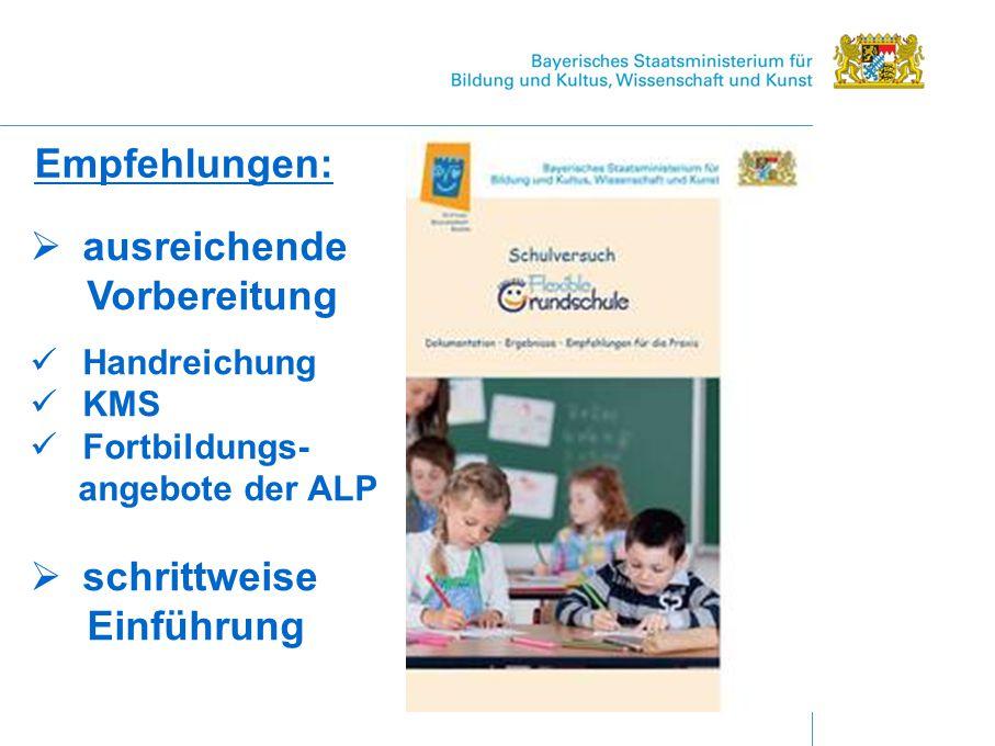Empfehlungen:  ausreichende Vorbereitung Handreichung KMS Fortbildungs- angebote der ALP  schrittweise Einführung