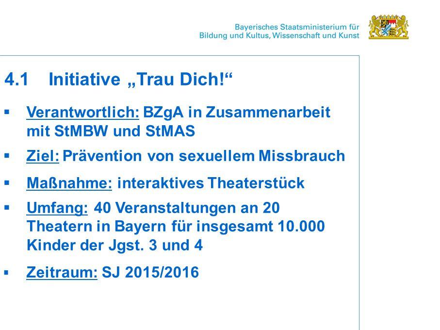  Verantwortlich: BZgA in Zusammenarbeit mit StMBW und StMAS  Ziel: Prävention von sexuellem Missbrauch  Maßnahme: interaktives Theaterstück  Umfang: 40 Veranstaltungen an 20 Theatern in Bayern für insgesamt 10.000 Kinder der Jgst.