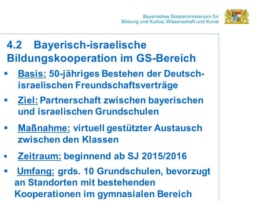  Basis: 50-jähriges Bestehen der Deutsch- israelischen Freundschaftsverträge  Ziel: Partnerschaft zwischen bayerischen und israelischen Grundschulen  Maßnahme: virtuell gestützter Austausch zwischen den Klassen  Zeitraum: beginnend ab SJ 2015/2016  Umfang: grds.