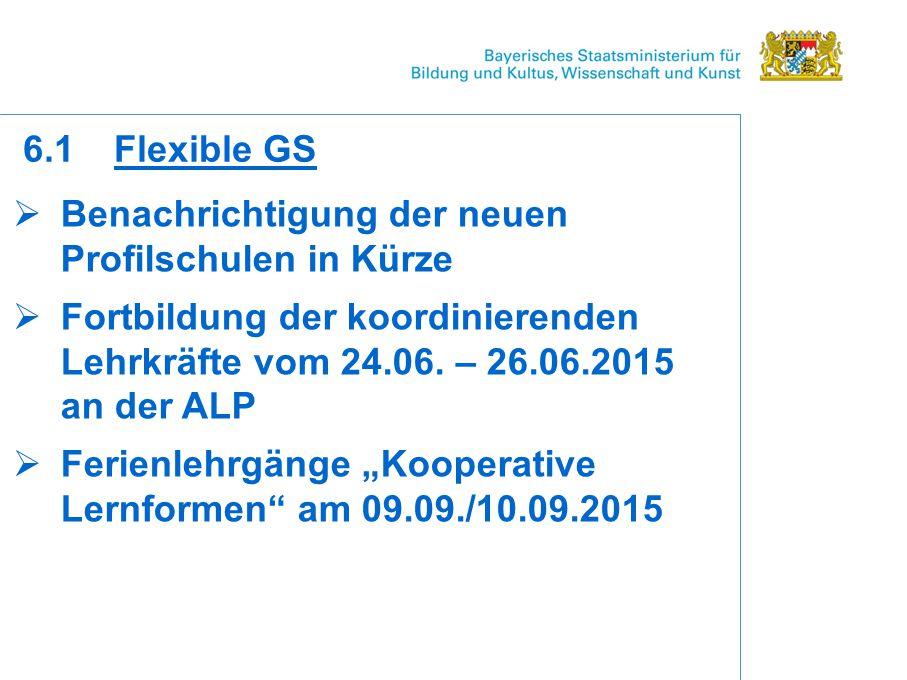  Benachrichtigung der neuen Profilschulen in Kürze  Fortbildung der koordinierenden Lehrkräfte vom 24.06.