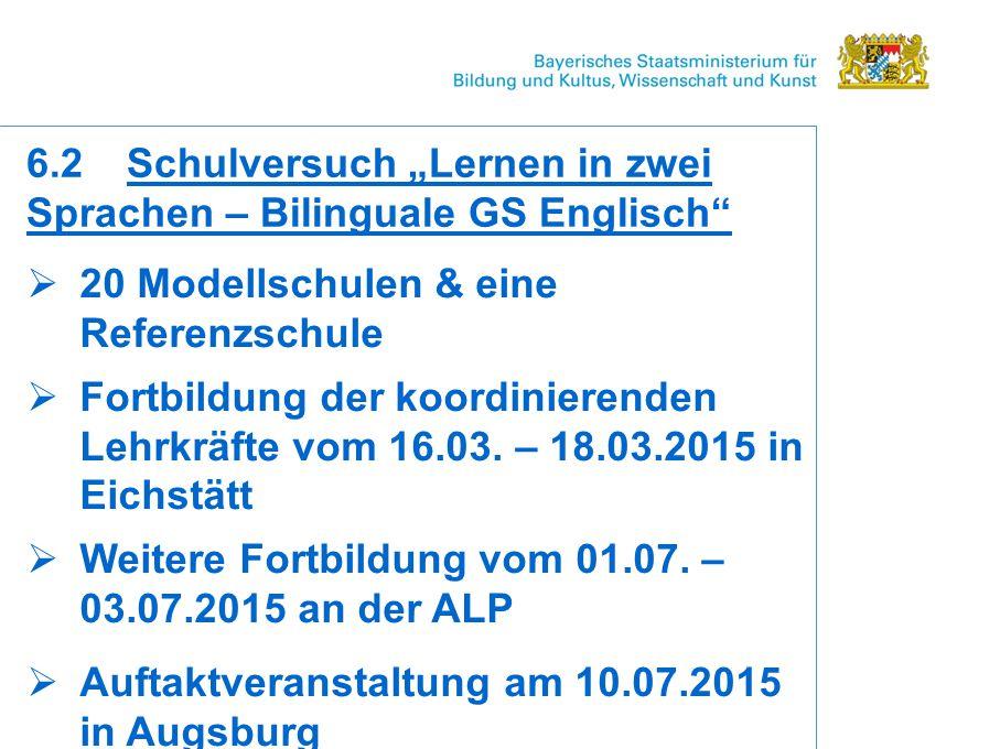  20 Modellschulen & eine Referenzschule  Fortbildung der koordinierenden Lehrkräfte vom 16.03.
