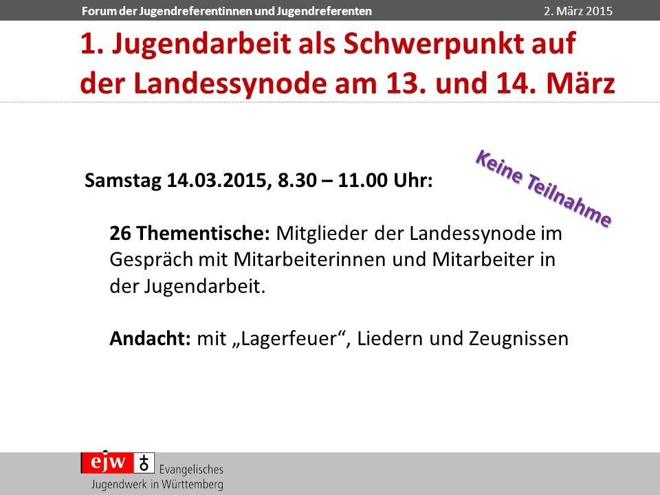 Forum der Jugendreferentinnen und Jugendreferenten2. März 2015 Samstag 14.03.2015, 8.30 – 11.00 Uhr: 26 Thementische: Mitglieder der Landessynode im G