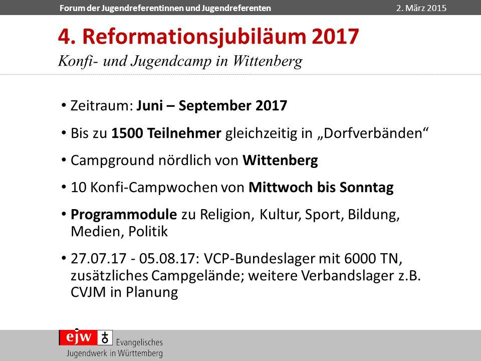 Forum der Jugendreferentinnen und Jugendreferenten2. März 2015 4. Reformationsjubiläum 2017 Konfi- und Jugendcamp in Wittenberg Zeitraum: Juni – Septe